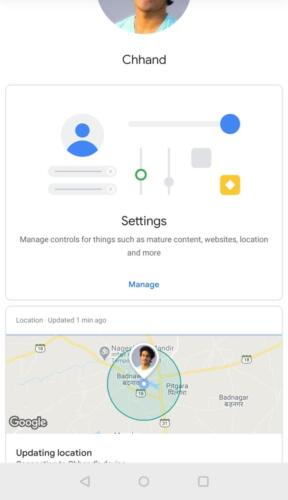 Google Family Link for parents - Home screen